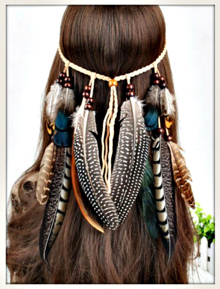BOHO CHIC HEADBAND Beaded Feather Rope Leather Boho Headband