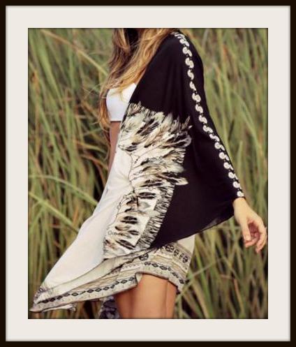 63175e0d6 Black & Brown Feather Oversized Boho White Kimono, plus size, loose ...