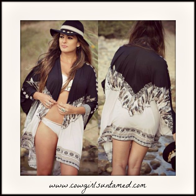 BOHEMIAN COWGIRL KIMONO Black & Brown Feather Boho White OVER SIZED Kimono
