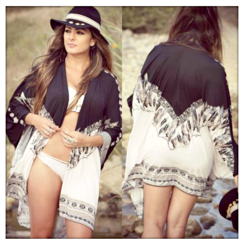 BOHEMIAN KIMONO Black & Brown Feather Boho White OVER SIZED PLUS SIZE Kimono LAST ONE!
