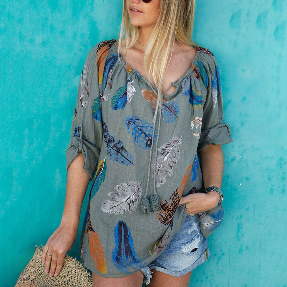 THE CHEYENNE TOP Multi Color Feather Print on Grey Roll Up Long Sleeve Peasant Tassel Boho Top S-3X
