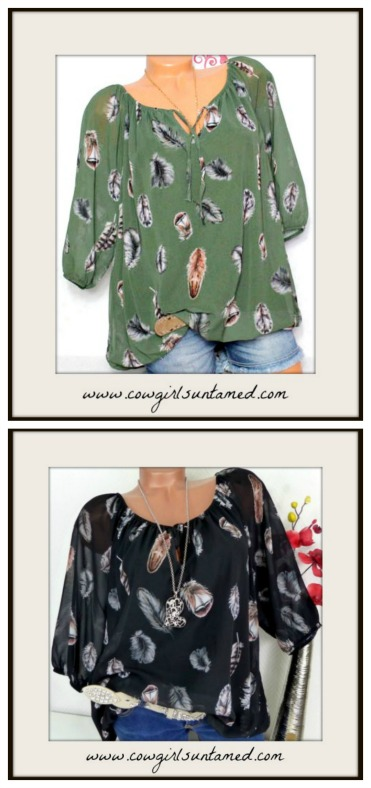 BOHEMIAN COWGIRL TOP Feather Print V Neck Half Sleeve Top Misses and Plus Sizes!