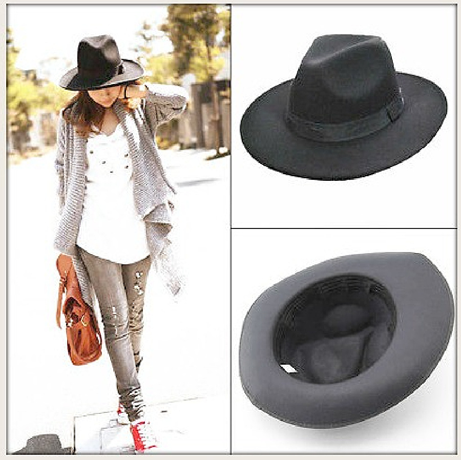 VINTAGE COWGIRL HAT Black Felt Fedora Hat ONLY 2 LEFT!