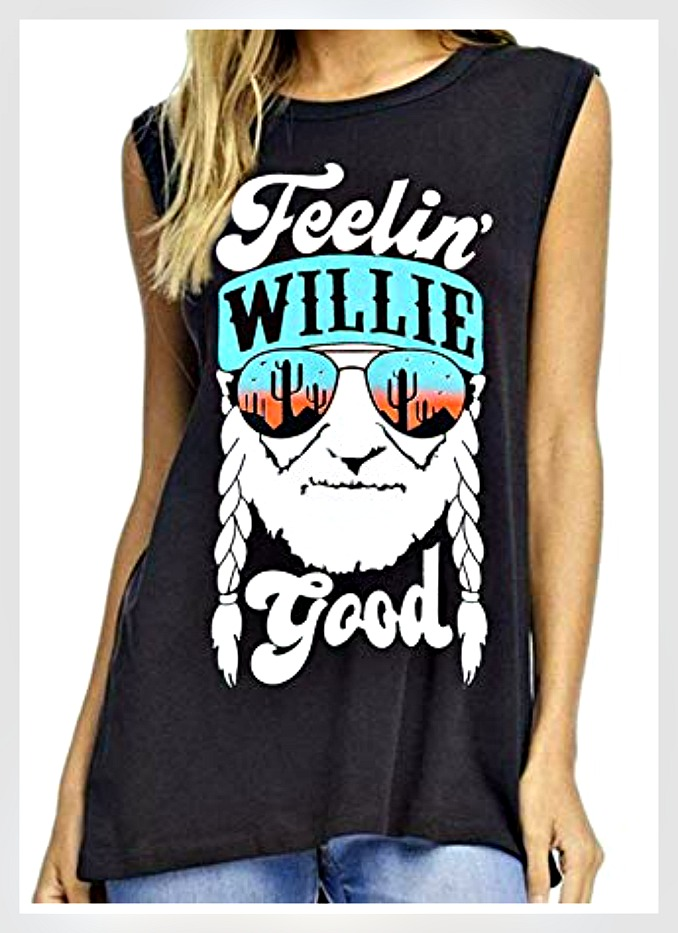 "OH WILLIE TANK Multi Color ""Feelin Willie Good"" Willie Nelson Black Tank Top"