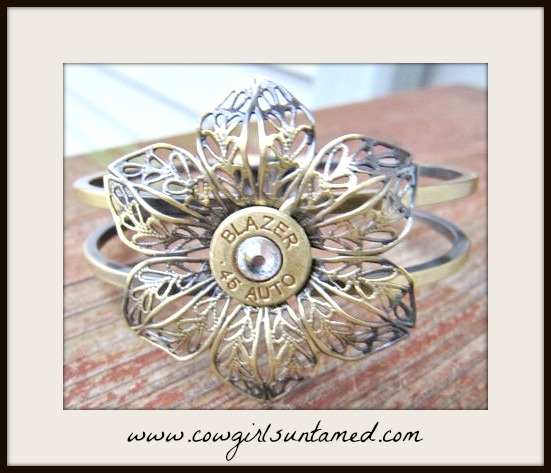 COWGIRL OUTLAW CUFF Antique Bronze Flower with Swarovski Crystal 45 Bullet Western Cuff Bracelet