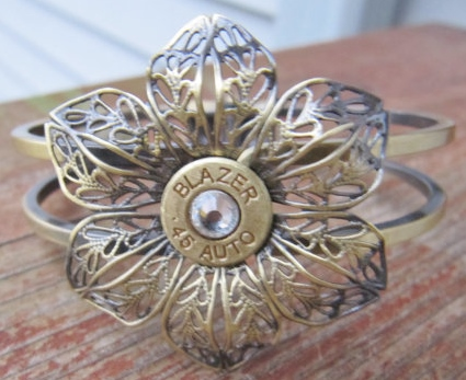 COWGIRL OUTLAW CUFF Antique Bronze Flower with Swarovski Crystal 45 Bullet Western Cuff Bracelet