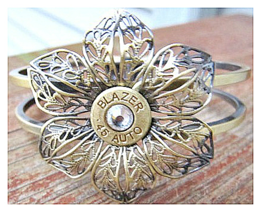 COWGIRL OUTLAW CUFF Custom Antique Bronze Flower with Swarovski Crystal 45 Bullet Western Cuff Bracelet
