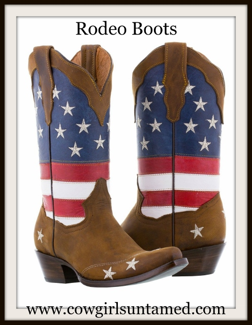 COWGIRL STYLE BOOTS Red White N' Blue Stars N Stripes GENUINE LEATHER Western Boot