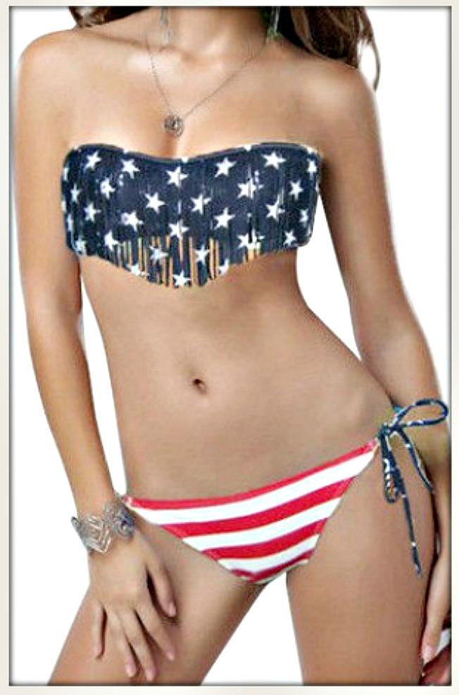 AMERICAN COWGIRL BIKINI Stars N Stripes Flag Fringe Strapless String Bikini