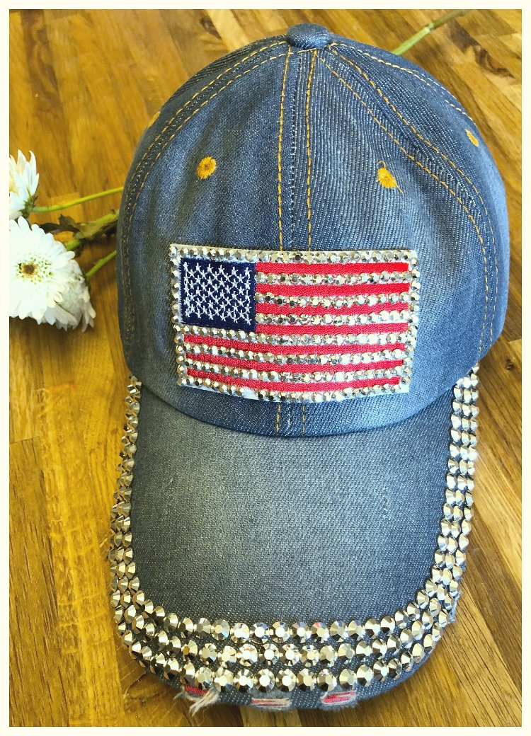 AMERICAN COWGIRL HAT Silver Crystal Trim Red White & Blue Stars & Stripes USA Flag Distressed Brim Denim Baseball Cap