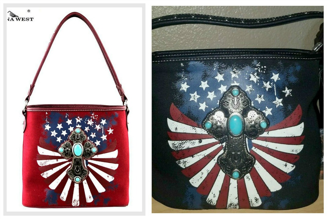 AMERICAN COWGIRL PURSE Montana West Antique Silver Turquoise Cross on Stars N Stripes USA Flag Hobo Western Purse 2 COLORS