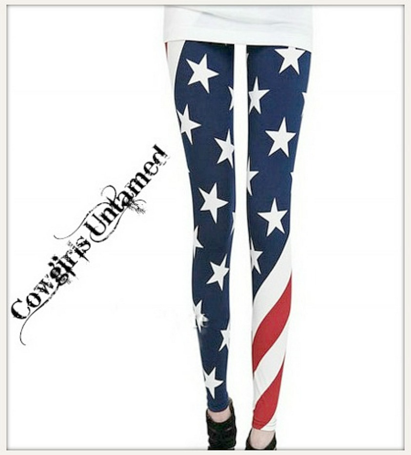 AMERICAN COWGIRL LEGGINGS Stars N Stripes Wrap Around Graphic Leggings LAST PAIR!