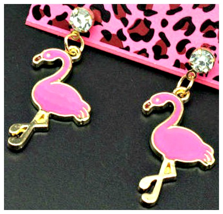 GOING FLAMINGO EARRINGS Crystal Charm & Hot Pink Gold Flamingo Rhinestone Earrings