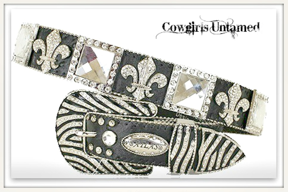 COWGIRL STYLE BELT Rhinestone Fleur De Lis & Square Conchos with Zebra Buckle on Black Leather Belt