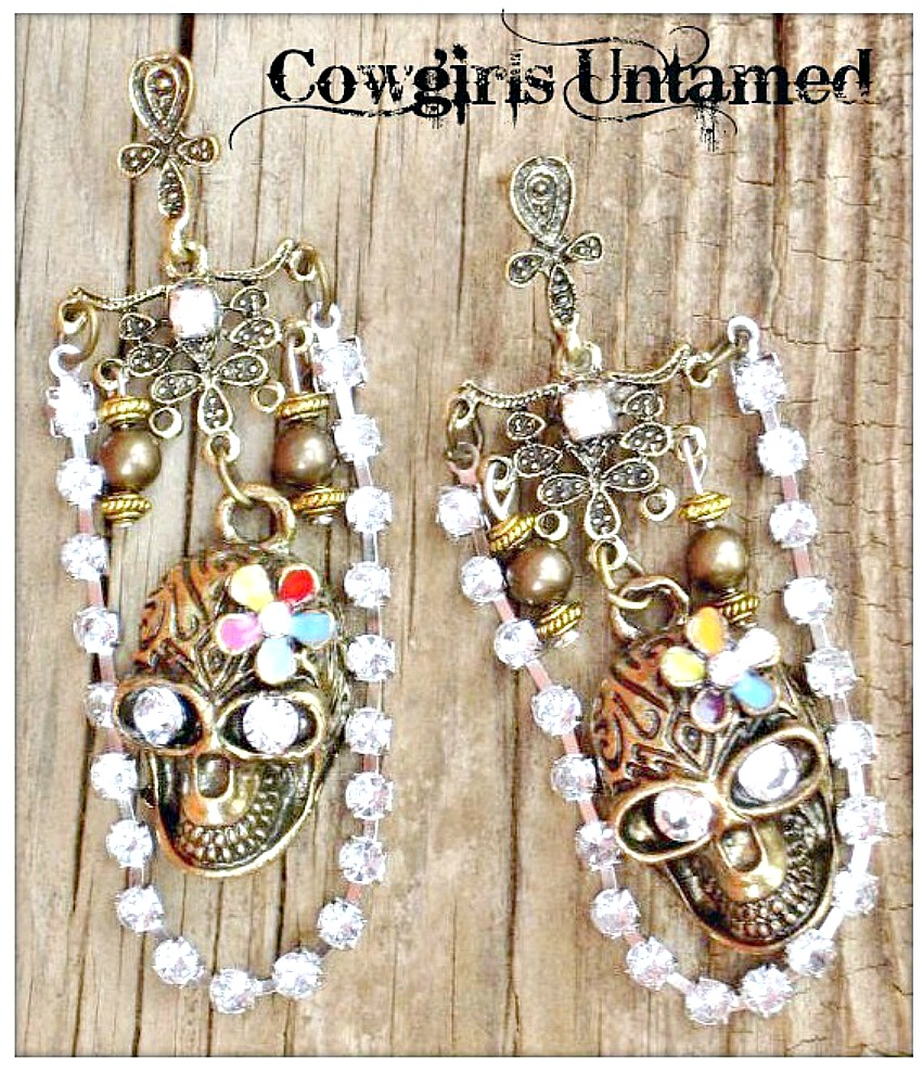 COWGIRLS ROCK EARRINGS Antique Bronze Skull with Rhinestone Chain Brass Chandelier Earrings