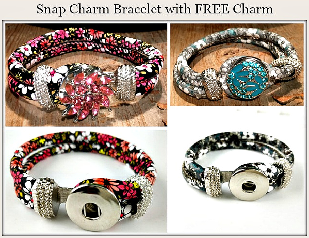 COUNTRY GIRL BRACELET Floral Double Strap and Silver hardware with FREE SNAP CHARM