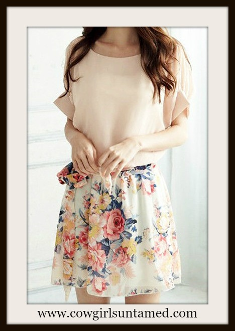 be44d0dadeb COUNTRY COWGIRL Pastel Chiffon Dolman Sleeve with Floral Skirt ...