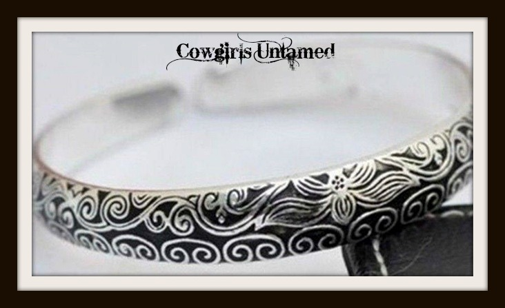 COWGIRL GYPSY BRACELET Floral Etched Tibetan Silver Western Cuff Bracelet