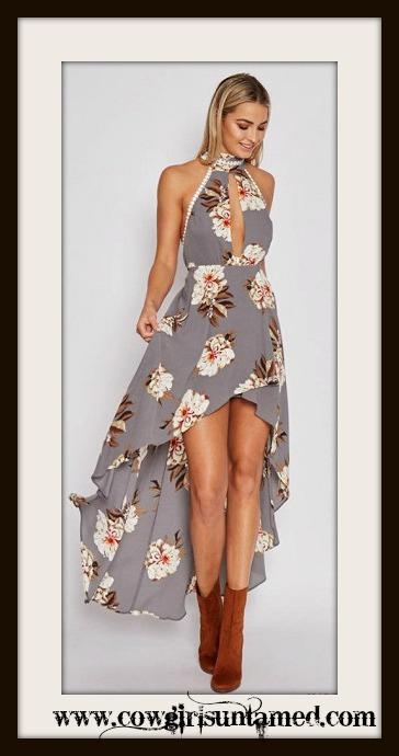 WILDFLOWER DRESS Floral Lace Trim Halter Style Open Back Asymmetrical Dress