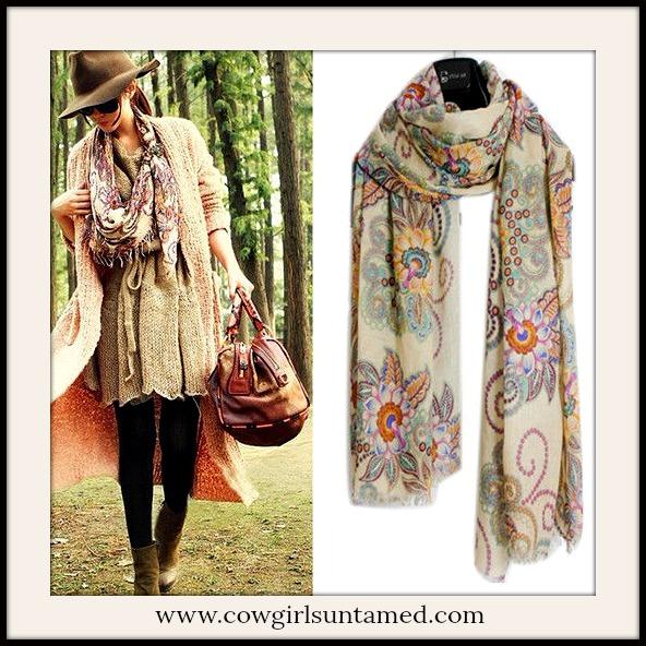 COWGIRL GYPSY SCARF Floral Vintage Look Long Scarf