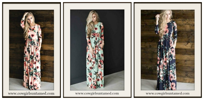 WILDFLOWER DRESS Pink Floral 3/4 Sleeve Maxi Dress  MISSES and PLUS SIZES in 3 COLORS!