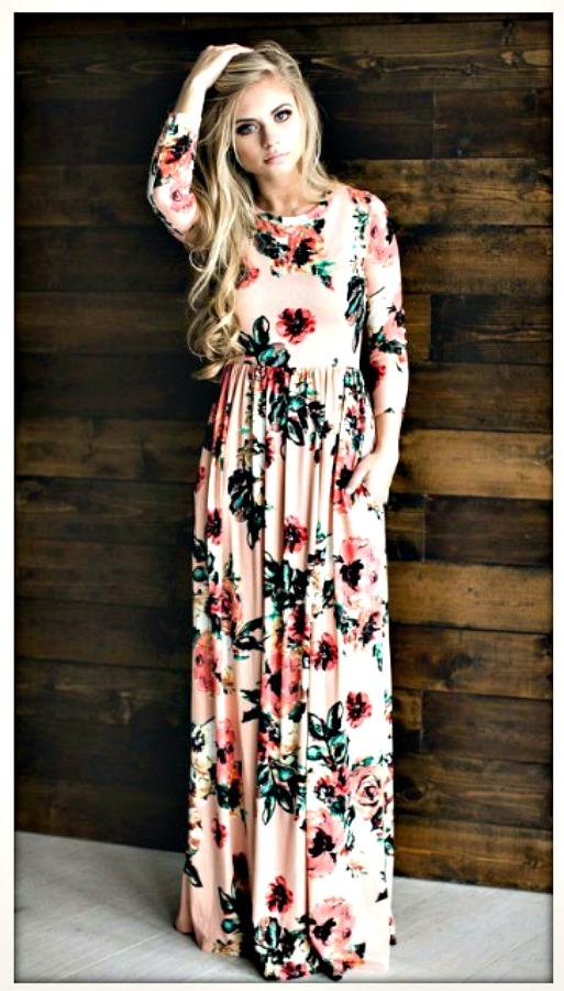 d32441231a0 Pink Floral 3 4 Sleeve Elastic Waist Long Summer Maxi Dress. SIZE  ...