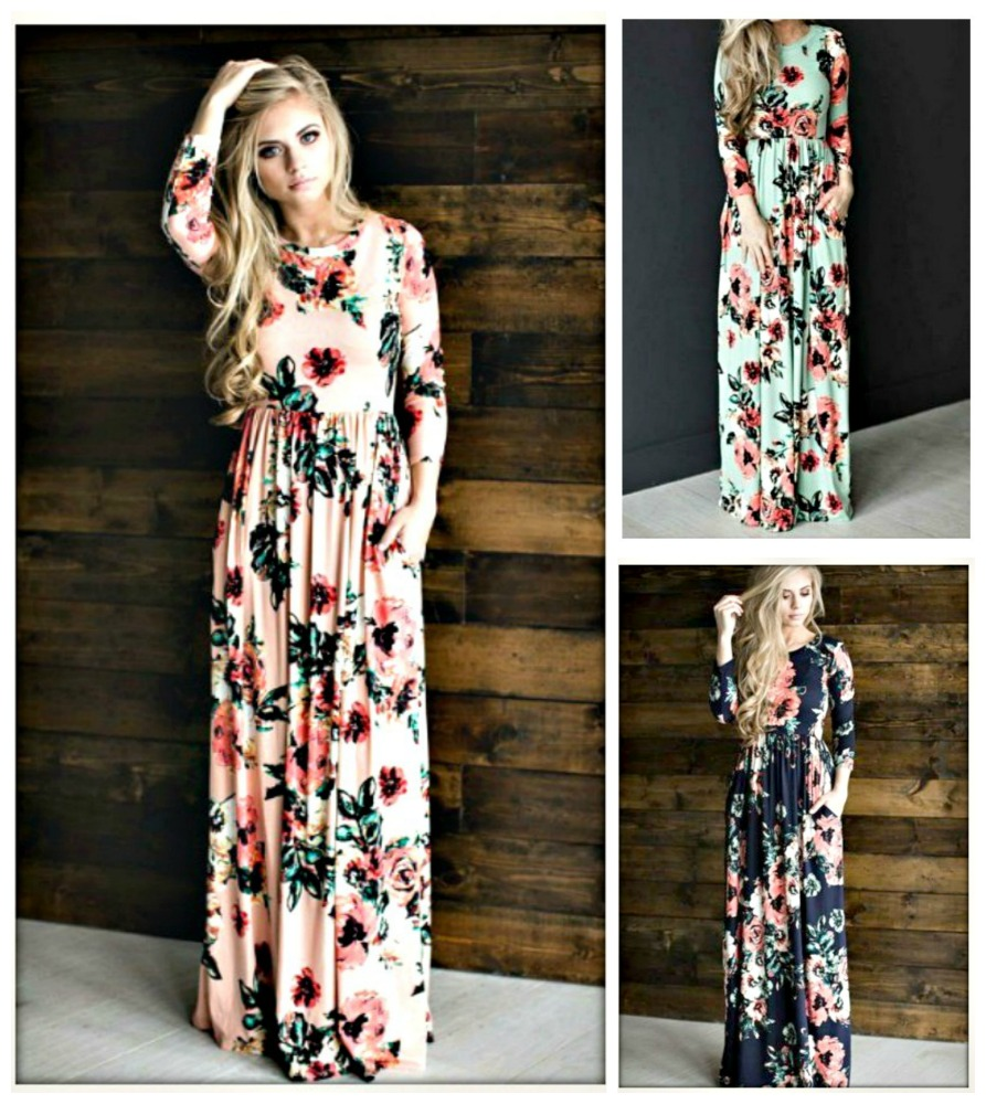 WILDFLOWER DRESS Floral 3/4 Sleeve Maxi Dress  MISSES and PLUS SIZES in 3 COLORS!