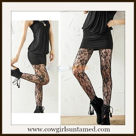 COWGIRLS ROCK STOCKINGS Black Floral Lace Nylon Stockings