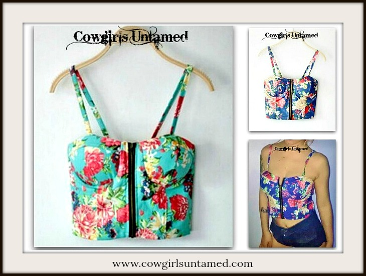 COWGIRL GYPSY TOP Floral Padded Zip Front Cropped Corset Top
