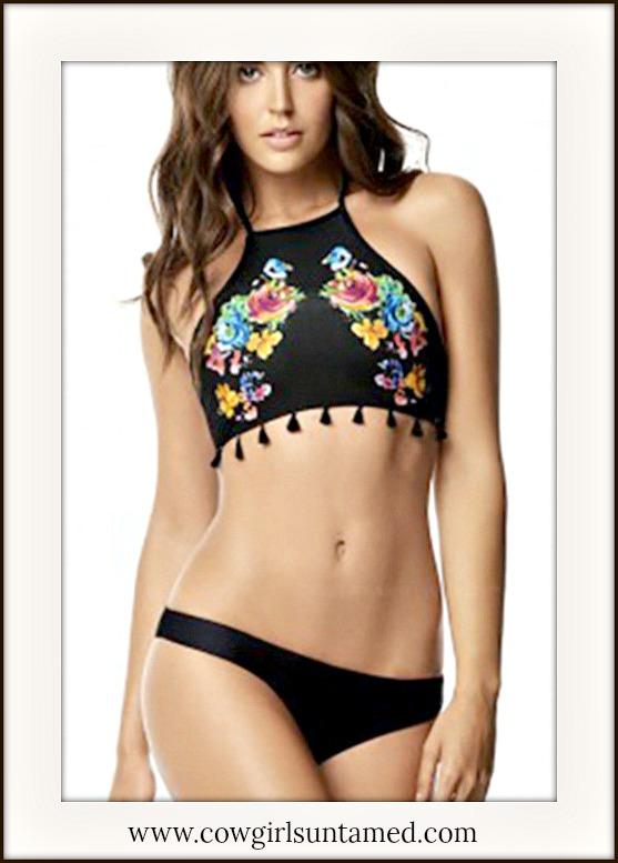 BOHO CHIC BIKINI Multi Color Floral &Tassel High Neckline Black Bikini Set
