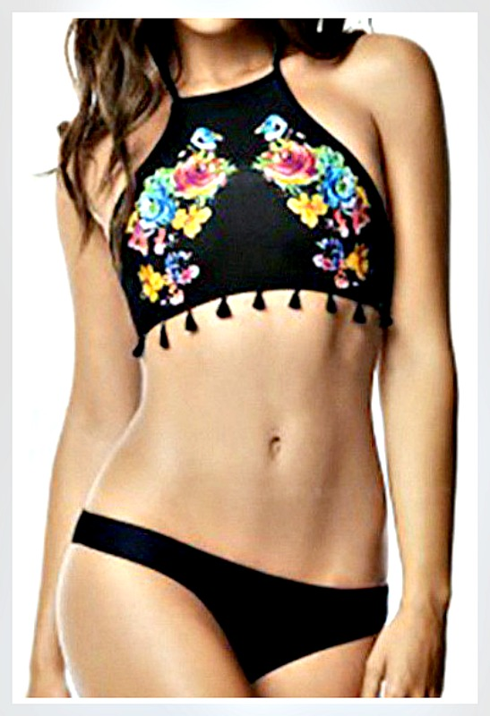 BOHO CHIC BIKINI Multi Color Floral &Tassel High Neckline Black Bikini Set