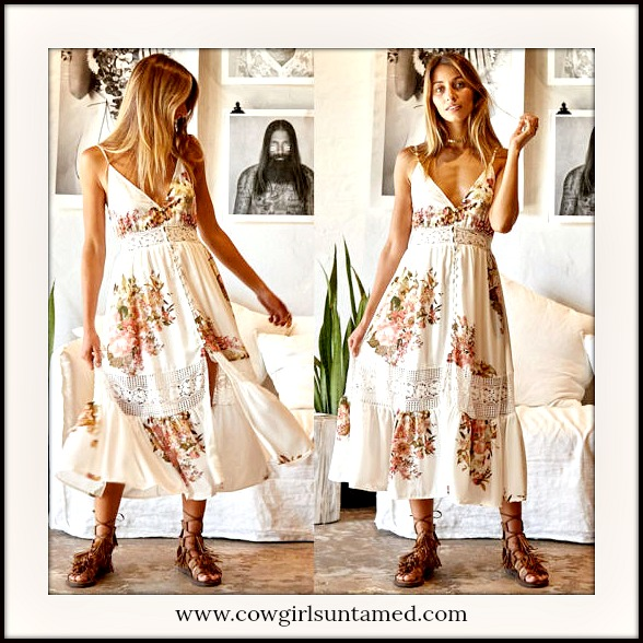 BOHEMIAN COWGIRL DRESS Floral & Lace Sleeveless Beige Ruffle Hem Boho Midi Dress