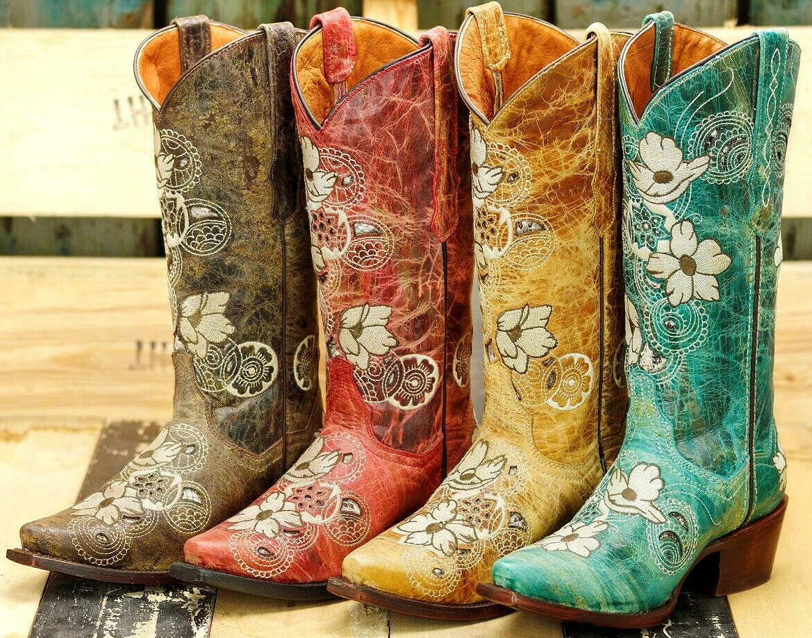 WILDFLOWER BOOTS Soft White & Brown Embroidered Floral Design Leather Cowgirl Boots SIZES 6-11