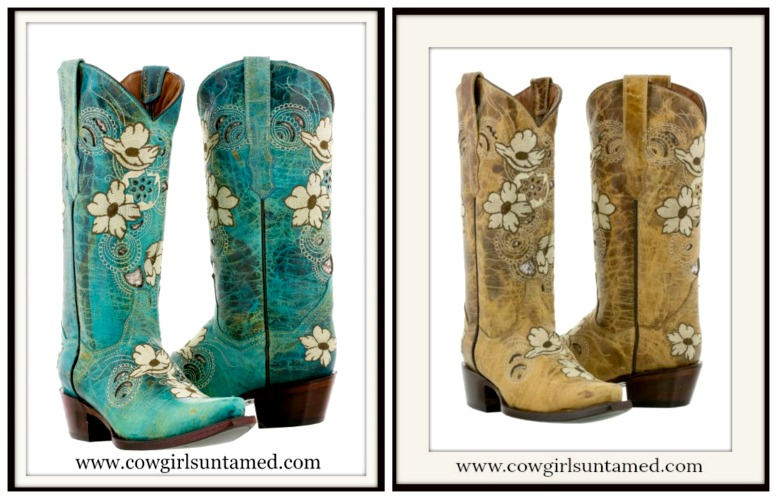 WILDFLOWER BOOTS Soft White & Brown Embroidered Floral Design Leather Cowgirl Boots