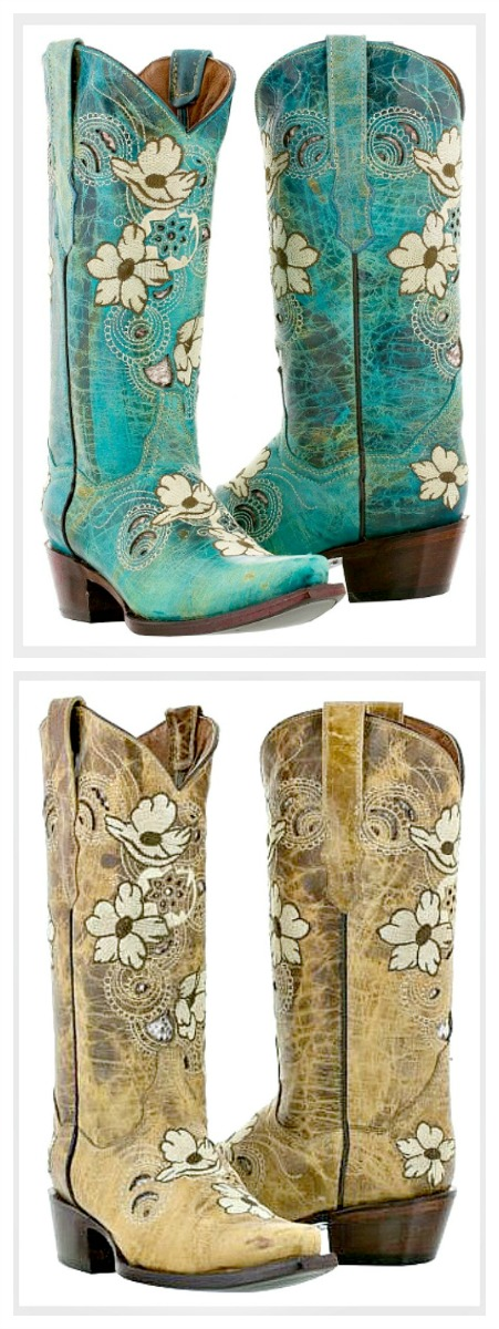 WILDFLOWER BOOTS Soft White & Brown Embroidered Floral Design Leather Cowgirl Boots SIZES 5-11