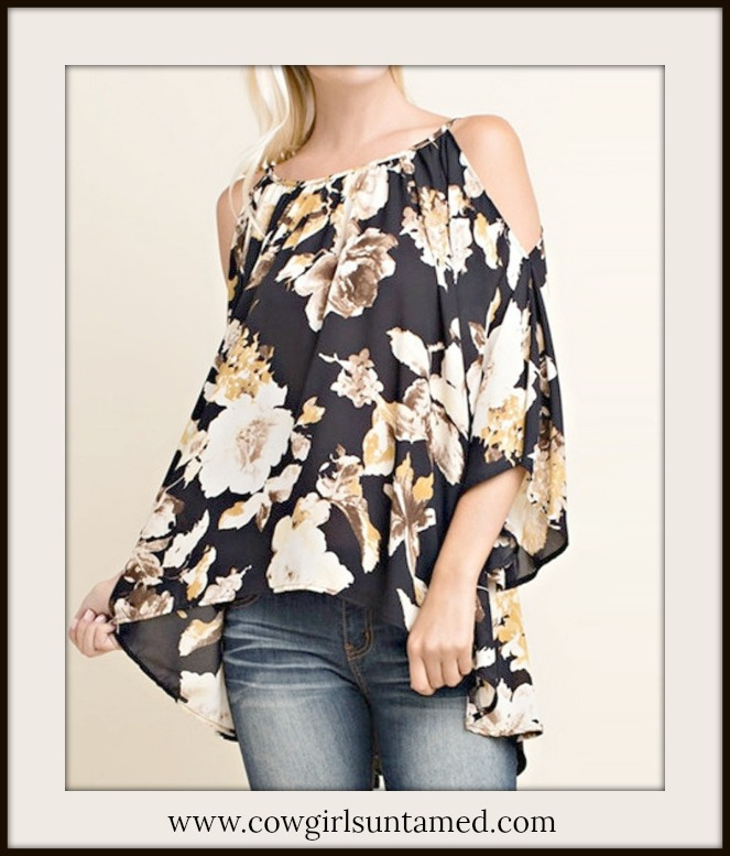 MAGNOLIAS BLOOM TOP Floral Cold Shoulder 3/4 Sleeve Flowy Blouse - Misses and Plus