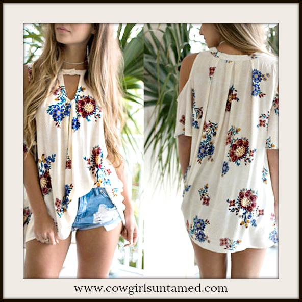 COWGIRL STYLE TOP Floral Cold Shoulder Short Sleeve Keyhole Flowy Blouse