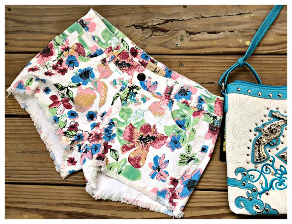 WILDFLOWER SHORTS Blue Pink Yellow Floral Off White Cut Off Stretchy Jean Shorts