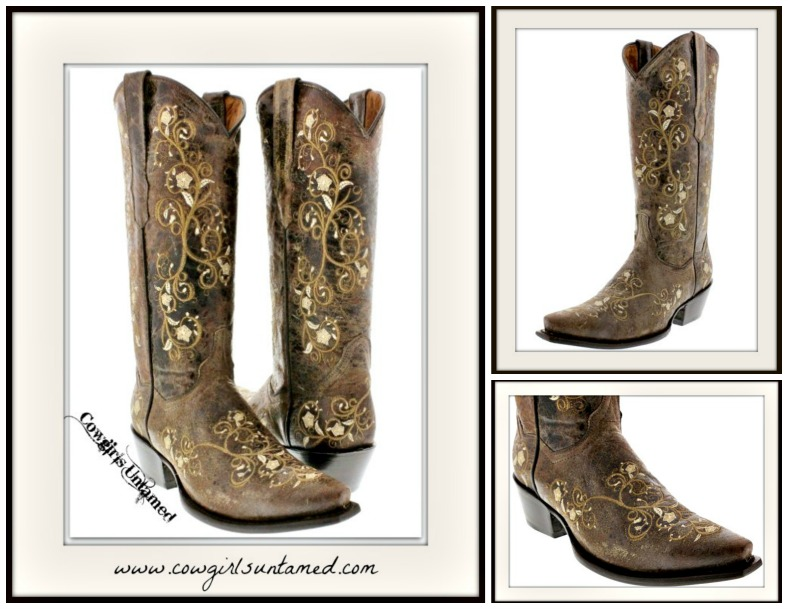 c92980a364ac8 COWGIRL STYLE Tan Floral Embroidered Tall Brown GENUINE LEATHER ...