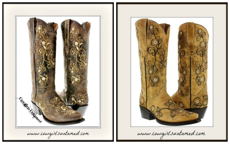 COWGIRL STYLE BOOTS Floral Embroidered GENUINE LEATHER Western Boots  2 COLORS!