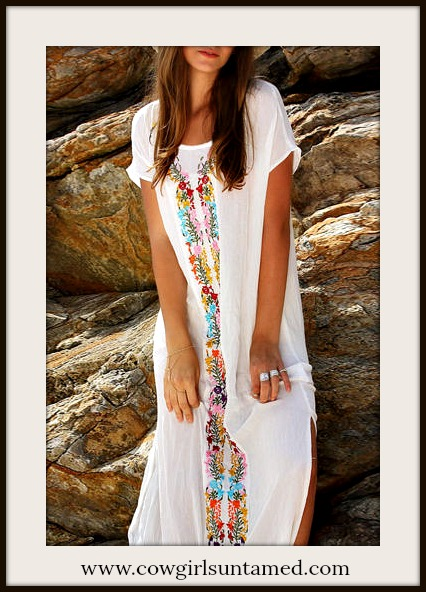 BOHEMIAN COWGIRL DRESS Floral Embroidery Cap Sleeve White Boho Maxi Dress