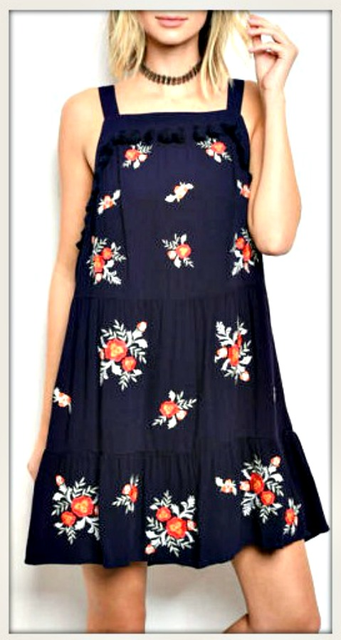 VINTAGE BOHEMIAN DRESS Floral Embroidered Tassel Black Tiered Lace Sleeveless Mini Dress  Last One  M