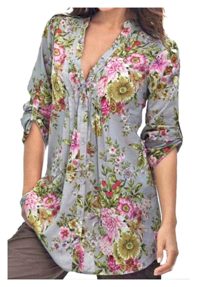 COWGIRL GYPSY TOP Floral V-Neck Roll Up Sleeves Pleated Grey Blouse LAST ONE 2X!