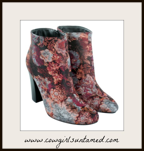 BOHO CHIC BOOTIES Multi Color Velvet Look Floral Brocade Heel Ankle Booties