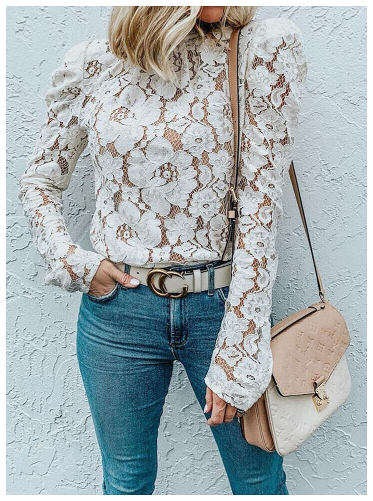 THE MEGAN TOP Vintage High Neck White Floral Lace Long Sleeve Blouse S-XL