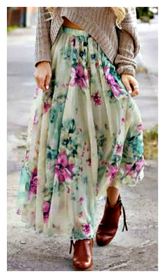 SPRING SPLENDOR SKIRT Purple Floral Boho Chiffon Maxi Skirt