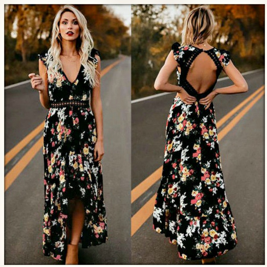 MAGNOLIAS BLOOM DRESS Red Pink Yellow Floral Open Back Lace Trim Sleeveless Black Maxi Dress S-XL