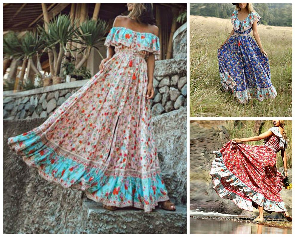 THE SOREN DRESS Mixed Pattern Floral Off the Shoulder Boho Maxi Dress