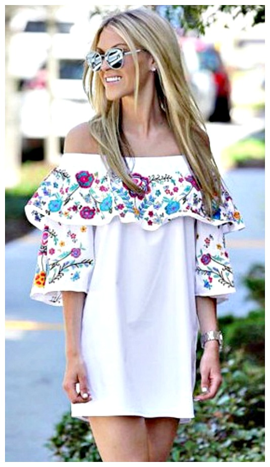 BOHEMIAN COWGIRL DRESS Floral Print Flounce Off the Shoulder Mini Dress LAST ONE