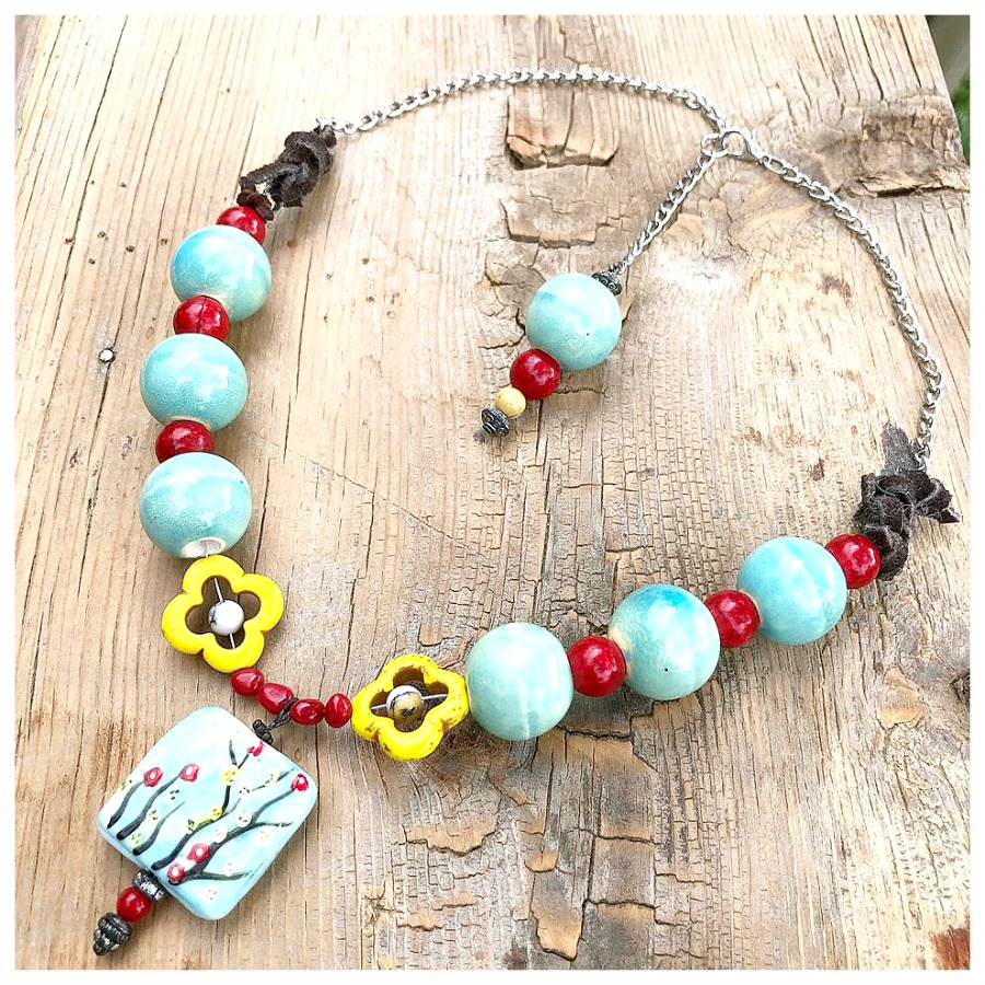 WILDFLOWER NECKLACE Handpainted Floral Ceramic Pendant Red N' Yellow Turquoise Beaded Boho Necklace
